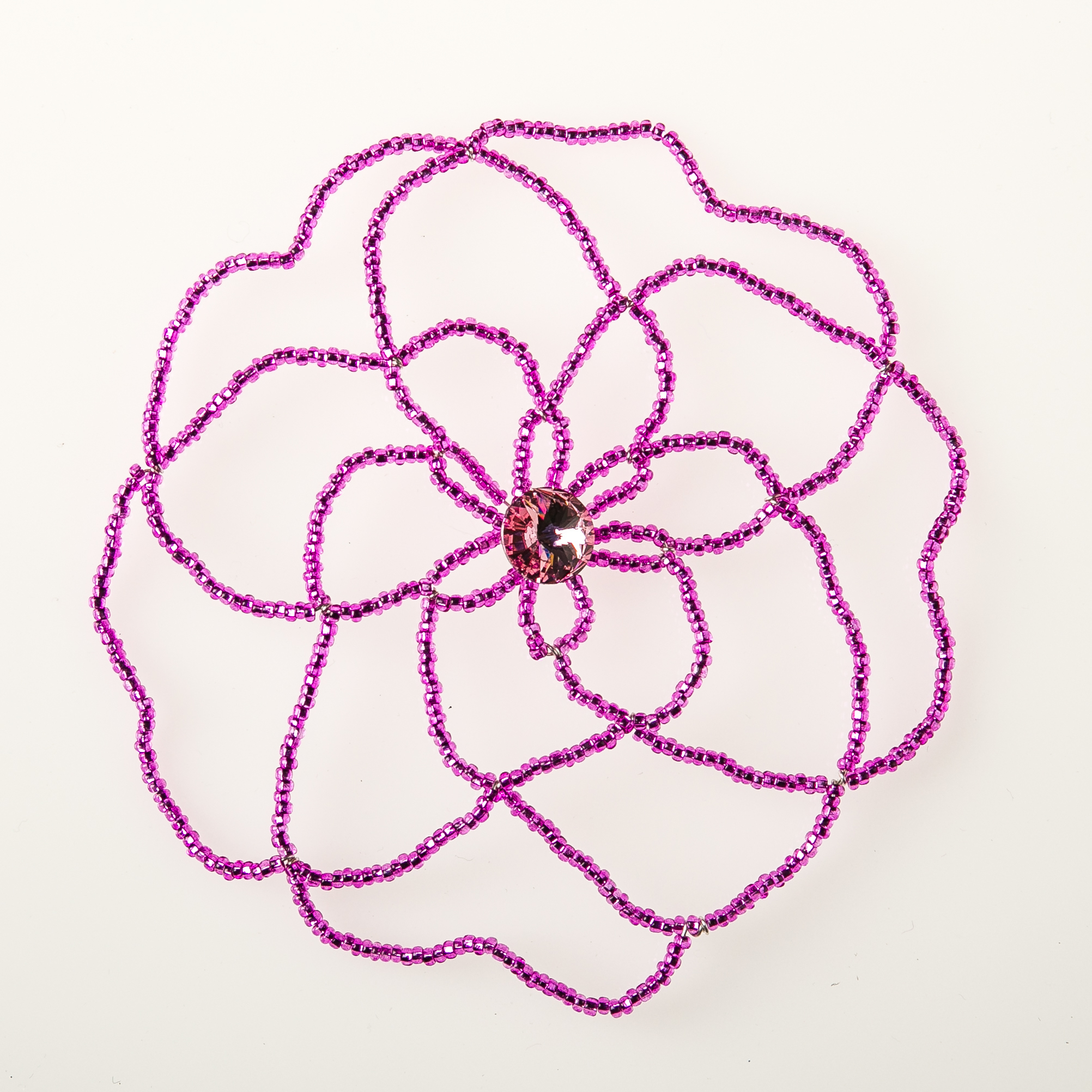 Hot Pink Flower with Crystal-0