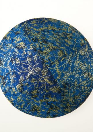 Blue with Gold and Navy Kippah-0