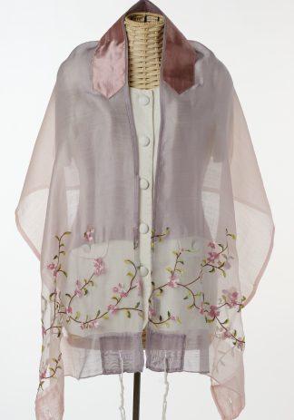 Meagan - Women's Handmade Sheer Silk Blend Tallit-0